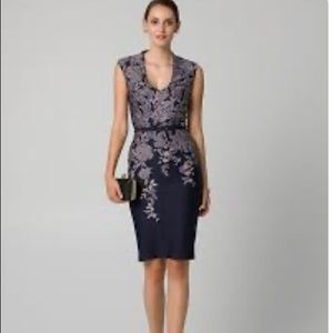 Le Chateau Jacquard Neck Print Midi Shift Dress